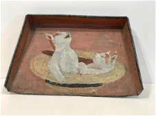 Painting of 2 Cats in a Straw Hat on a Dust Pan c.1900