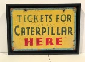 Vintage Amusement Park Caterpillar Ride Sign
