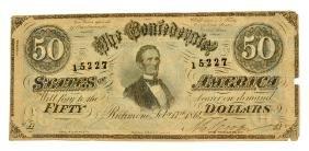 Rare 1864 $50 U.s. Confederate Note