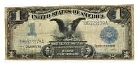Rare 1899 $1 U.s. Black Eagle Large Size Silver