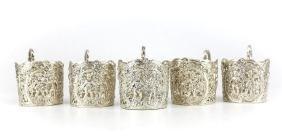 Antique Hanau German 800 Silver Cup Holders, 1910