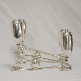 Mid-Century Modern Sterling Silver Candelabras