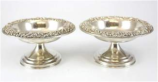 Antique Kirk & Son Hand Chased Sterling Silver Compotes