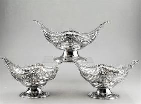 3 Antique Victorian Harris Sterling Silver Baskets 1897