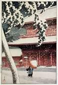 Hasui Kawase Zojo-ji Temple Japanese Woodblock Print