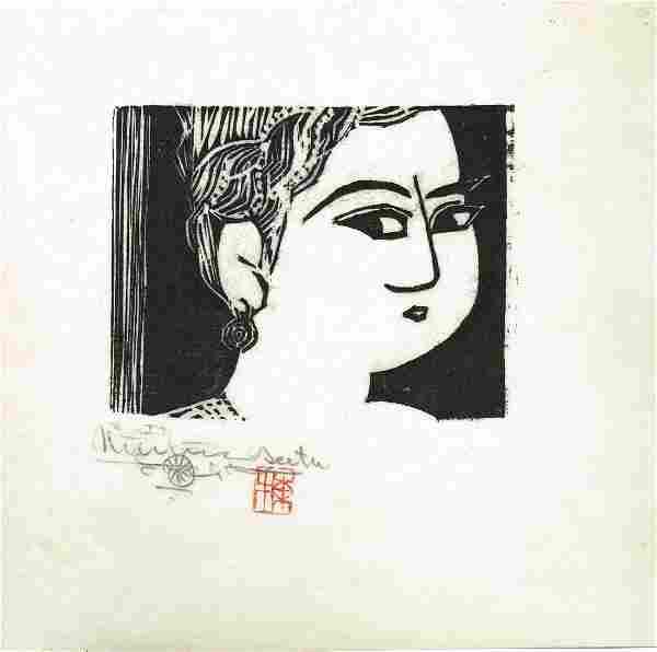 Shiko Munakata Portrait Japanese Woodblock Print