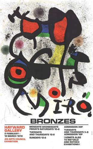 Joan Miro: Bronzes Lithograph Poster, 1972 - SIGNED