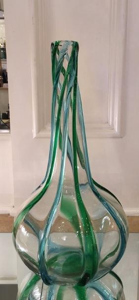 "Tall Blue & Green 18"" Murano Italian Art Glass Vase"