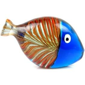 Murano Blue Orange Stripes Art Glass Fish Paperweight