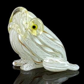 Murano White Zanfirico Ribbons Art Glass Frog Figurine