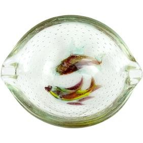 Murano Double Fish Italian Art Glass Bowl Ashtray