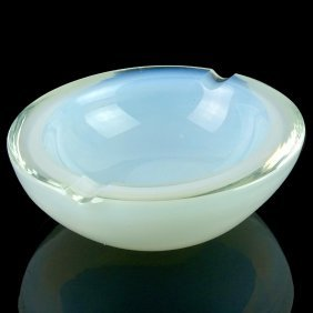 Murano Opalescent White Italian Art Glass Bowl Ashtray