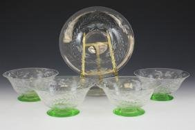 Green & Clear Footed Glass Ice Cream Bowls Underplates