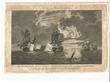 1786 Engraving Naval Battle Btwn ENG & FR War Ships