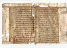 1200 Manuscript Vellum Fragment Gospel of Matthew