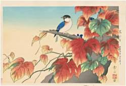 Gakusui Ide Titmouse & Ivy Japanese Woodblock Print