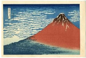 Katsushika Hokusai Red Fuji Japanese Woodblock Print
