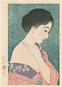 Torii Kotondo Applying Power Japanese Woodblock Print