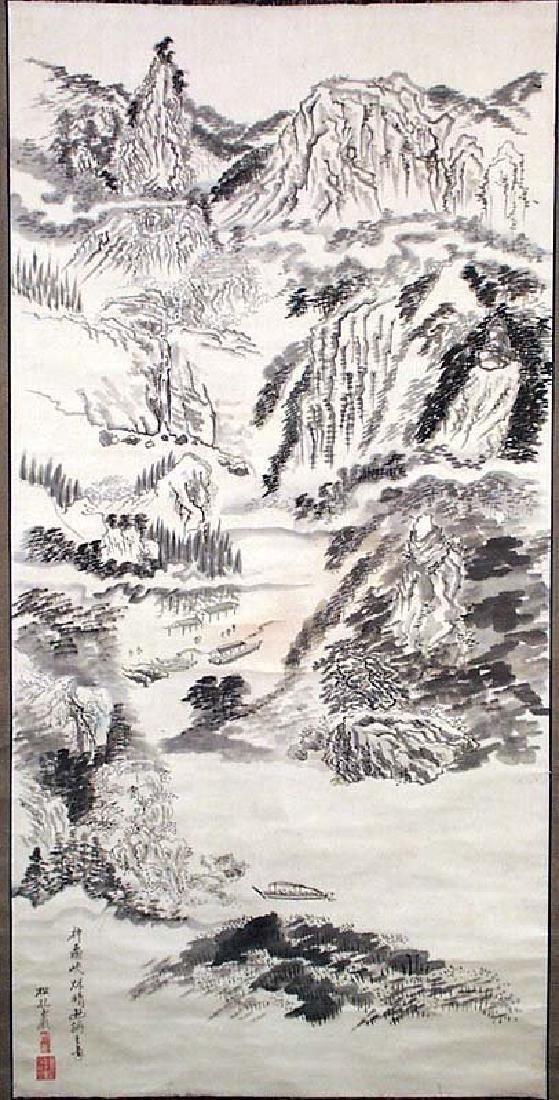 Antique Japanese Meiji Landscape Scroll Painting