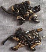 Pair of Antique Japanese Fighting Samurai Sword Menuki