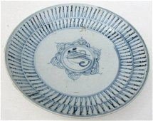 Antique Chinese Painted Blue & White Porcelain Plate