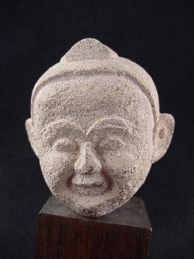 Antique Thai Stone Dolls Head, 17th Century
