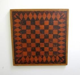 Antique 2 Sided Gameboard: Checkers & Chinese Checkers