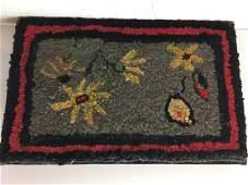 Floral Folk Art Hooked Rug