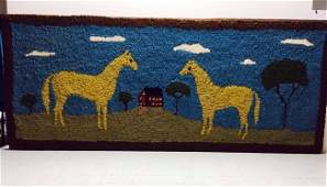 Double Horse Hooked Rug