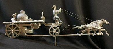Vintage Copper w/ Zinc Heads Horse Drawn Weathervane
