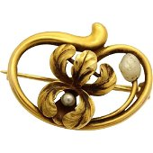 Art Nouveau 14k Yellow Gold Pearl Flower Pin Brooch