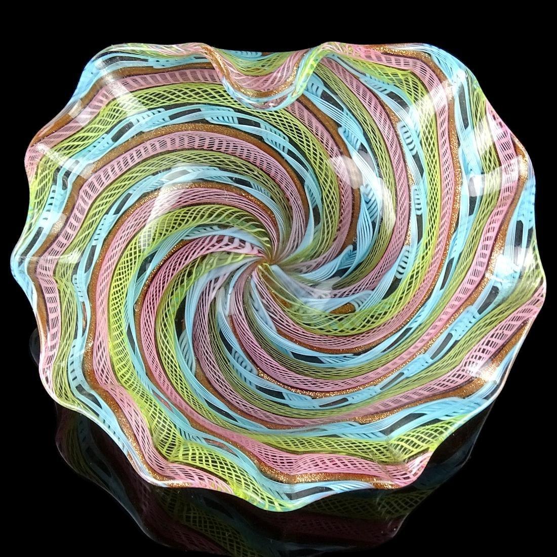 Fratelli Toso Murano Multicolor Ribbons Art Glass Pin
