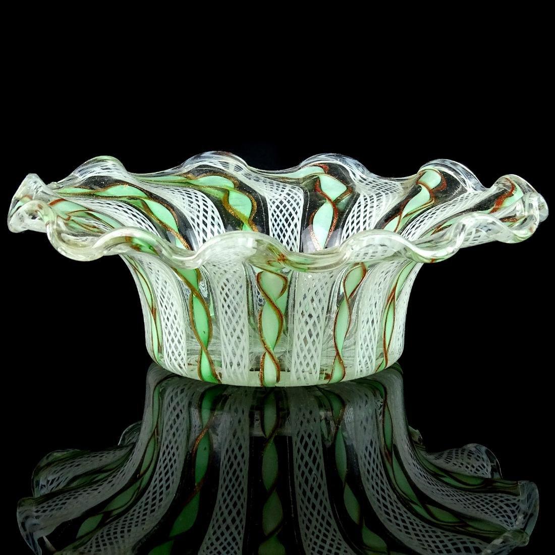 Murano Green White Ribbons Art Glass Hat Shaped Dish