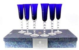 6pc. St. Louis Champagne Flutes in Bubbles Dark Blue