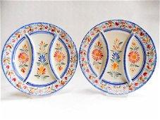Pair of Henriot Quimper Fondue Plates