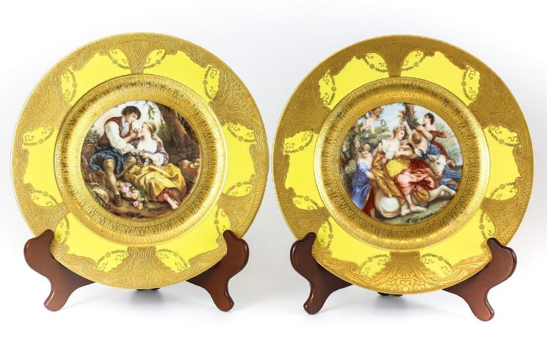 2 Antique Limoges Porcelain Portrait Cabinet Plates