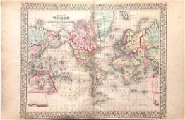 Mitchell: Antique Map of the World; Mercator Projection