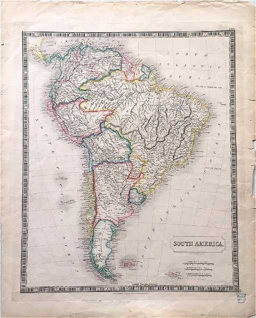 Map Of America 1820.Sidney Hall Antique Map Of South America 1820