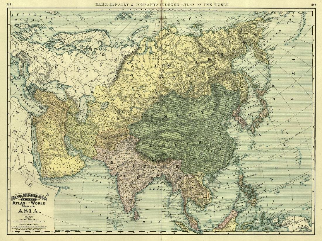1892 Map Of The World.Rand Mcnally Antique Atlas Map Of Asia 1892