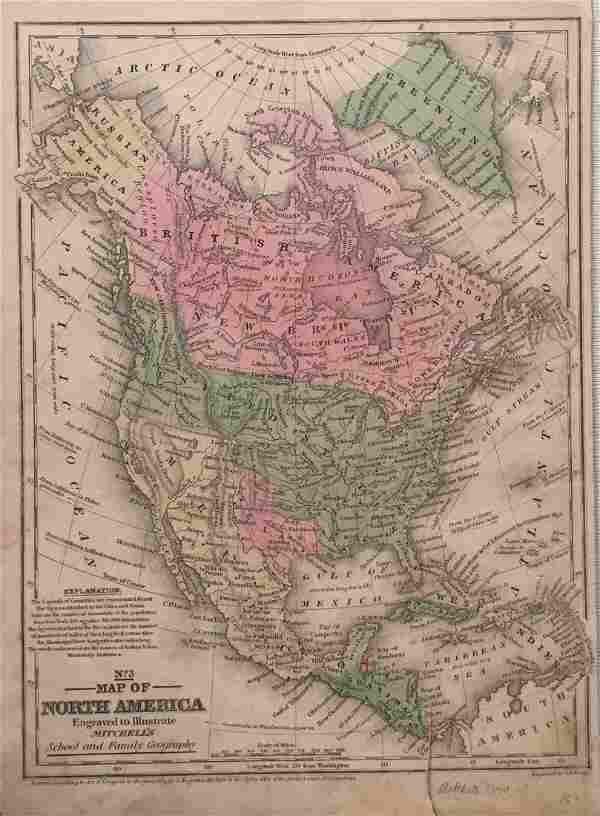 Mitchell: Antique Map of North America, 1840