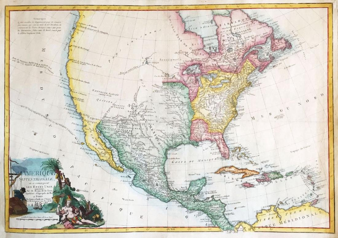 Antique Map Of North America.De La Tour Antique Map Of North America 1779