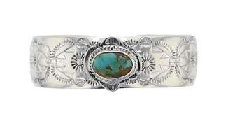J. Nelson Navajo Sterling Silver Turquoise Bracelet