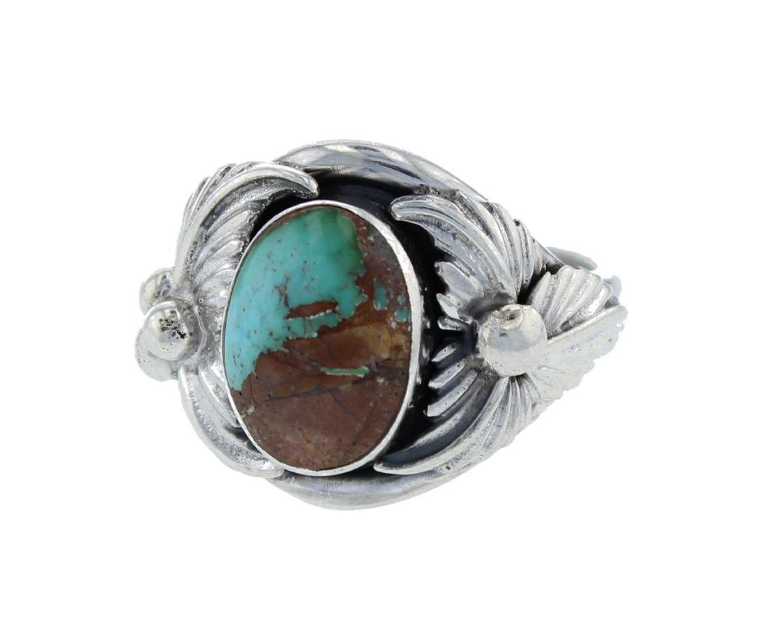 Navajo Sterling Silver Turquoise Ring Signed BP