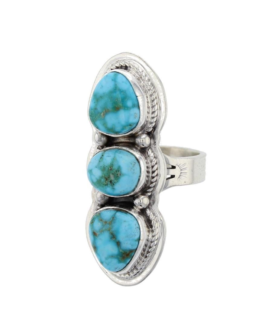 Navajo Sterling Silver Turquoise Ring Signed L