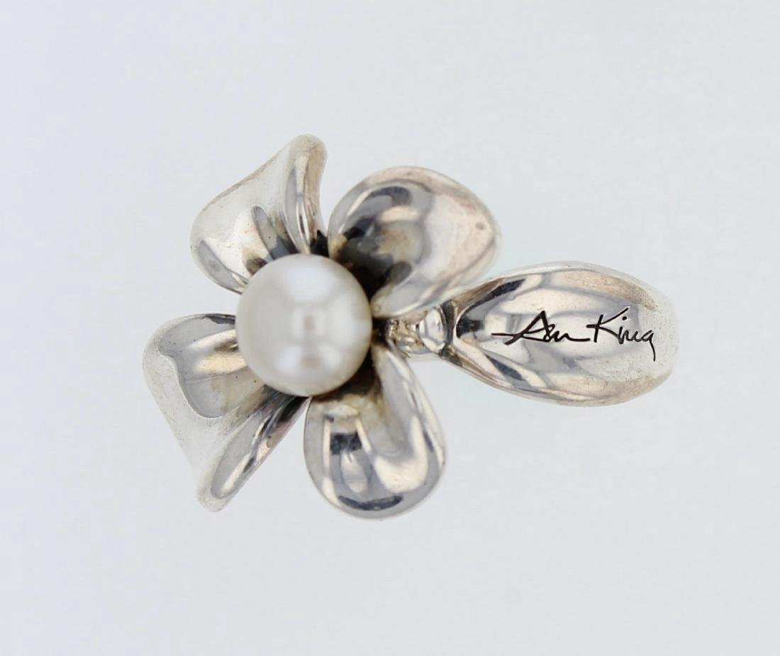 Sterling Silver Flower Pearl Ring Signed N. King