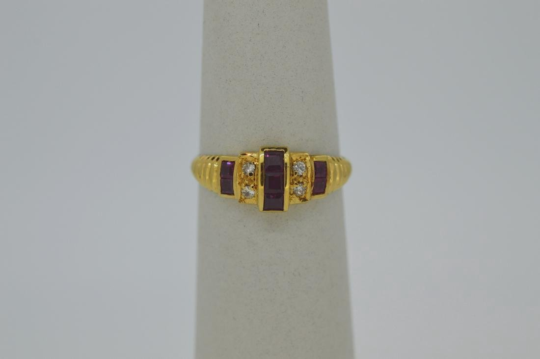 Ladies 18K Yellow Gold Diamond Ruby Ring