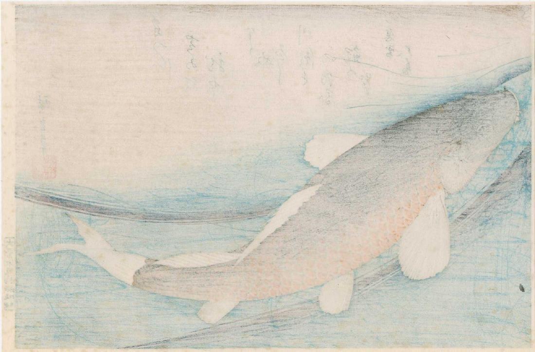 Ando Hiroshige Carp Swimming Japanese Woodblock Print - 2
