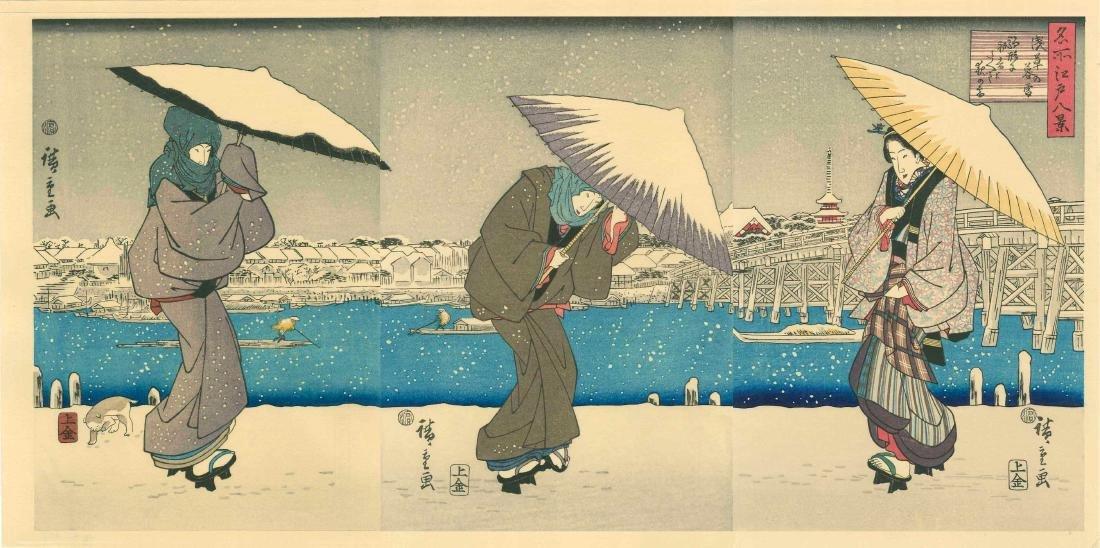 Ando Hiroshige Women Snow Japanese Woodblock Print