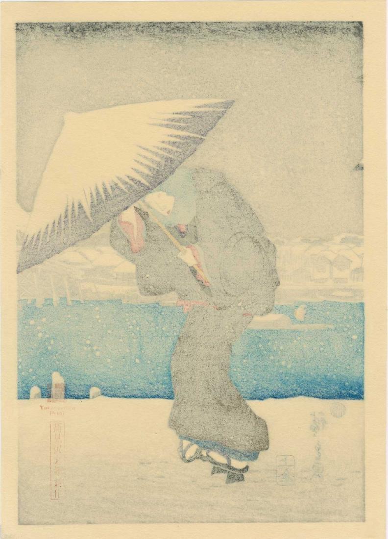 Ando Hiroshige Women Snow Japanese Woodblock Print - 7