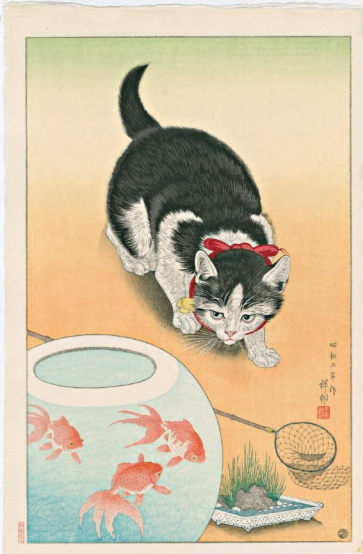 Ohara Koson Cat Goldfish Japanese Woodblock Print